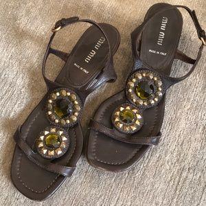 Miu Miu Jeweled kitten heel sandal